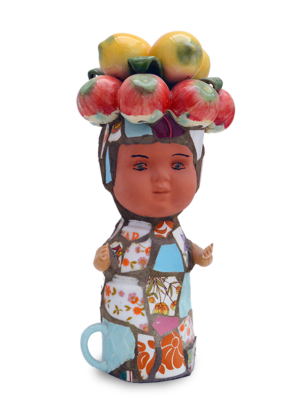sculptures, Doll with a fruit headdress